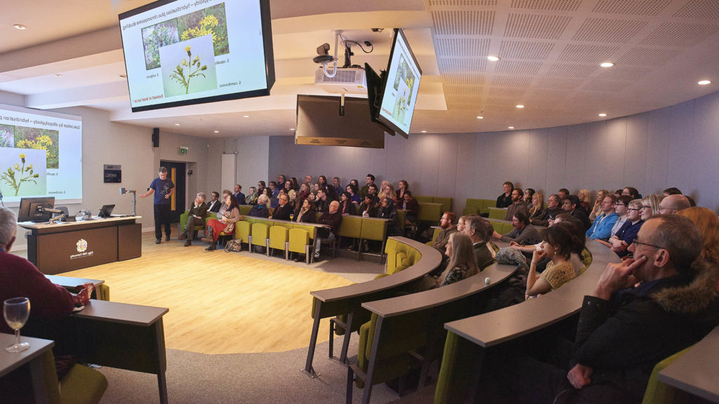 Paul Ashton speaking at a public lecture in the Tech Hub lecture theatre.