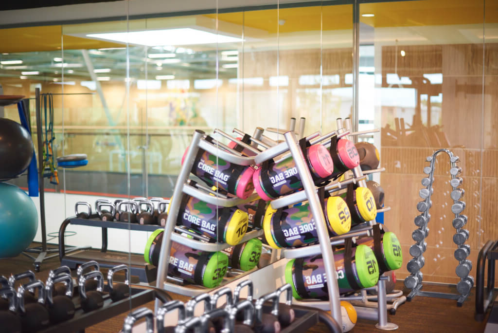 Weights and gym equipment in the Sports Centre