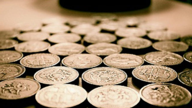 Pound coins laid flat